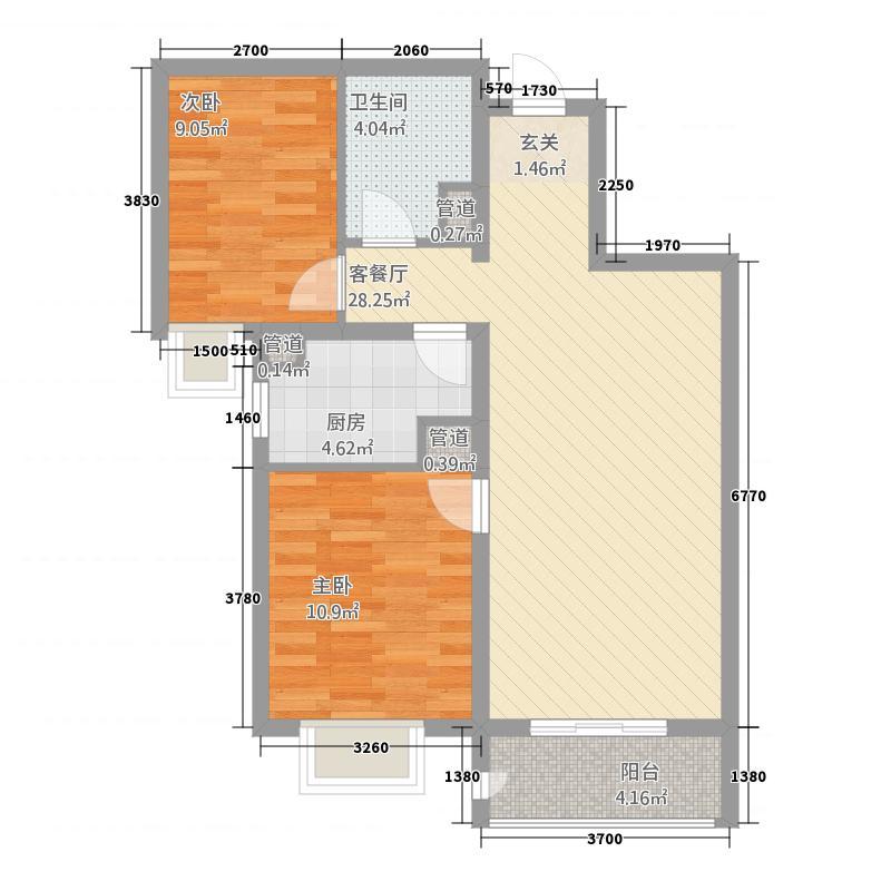 世纪学庭111387.36㎡109、113#标准层C2户型2室2厅1卫1厨