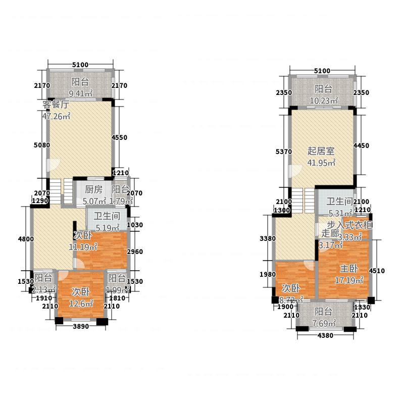 半山蓝湾188.28㎡复式洋房F5户型4室3厅2卫1厨
