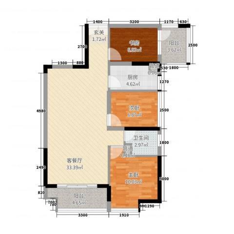 深业欧景城3室1厅1卫1厨73.32㎡户型图