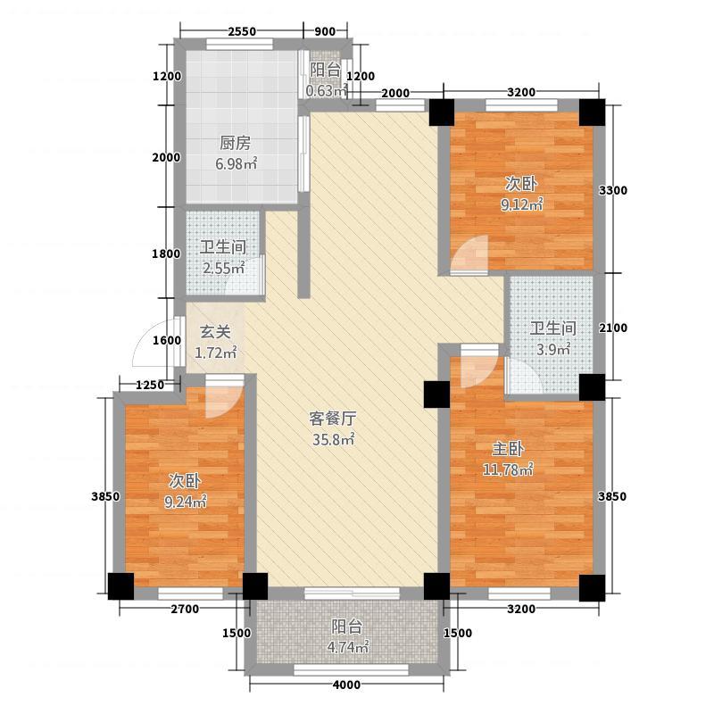 金岸一品32113.20㎡A户型3室2厅2卫1厨