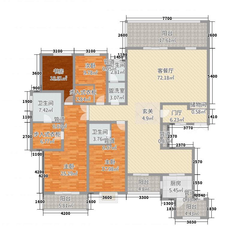 石鼓天玺台131248.88㎡13号楼_户型4室2厅3卫2厨