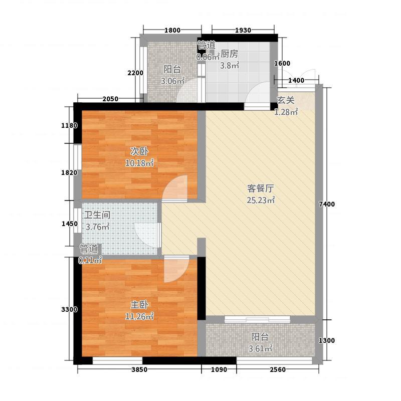 喀什明宇广场3.22㎡N户型2室2厅1卫1厨