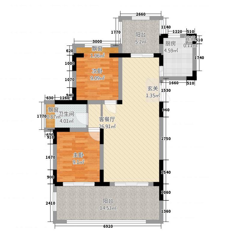 帝景湾12281.22㎡01户型2室2厅1卫1厨