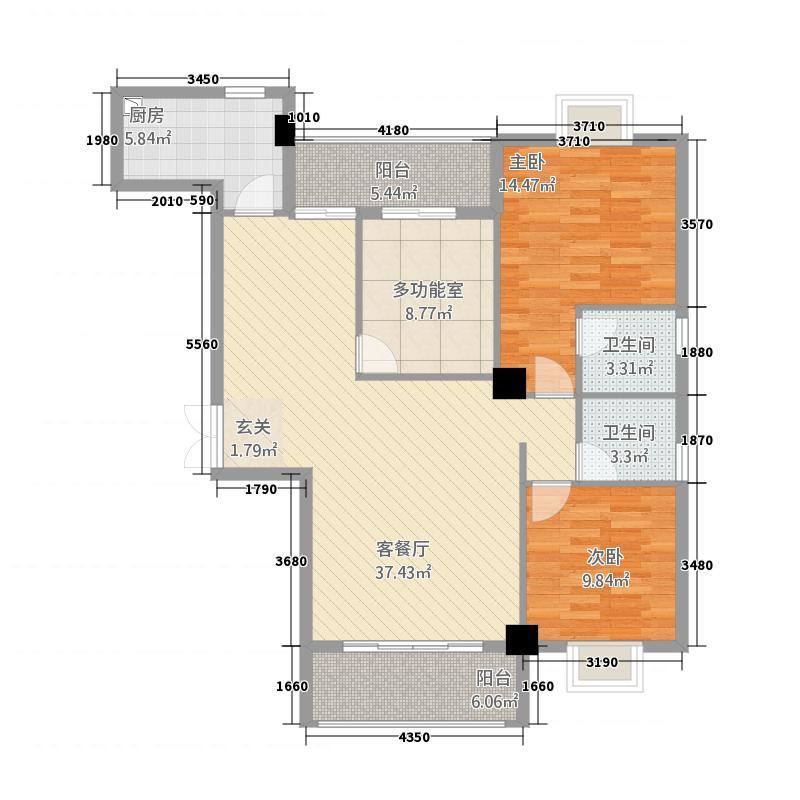 新新罗马家园133.62㎡户型3室2厅2卫1厨