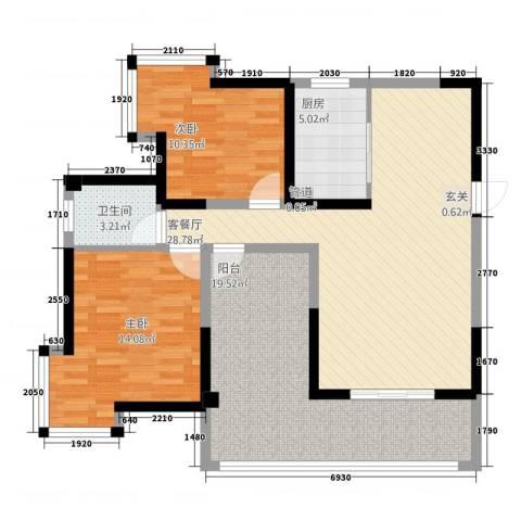 未来城2室1厅1卫1厨81.02㎡户型图