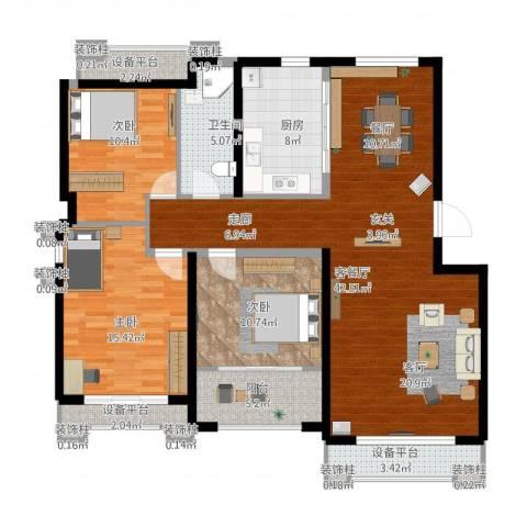 逸水园3室1厅1卫1厨121.72㎡户型图