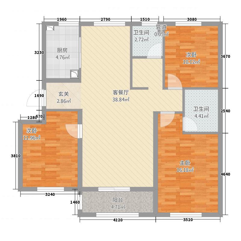 盛世茗居2313.83㎡一期2#、3#楼中间户C户型3室2厅2卫1厨