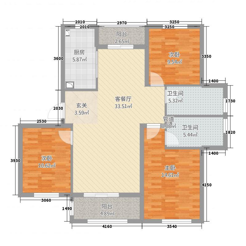 盛世茗居212.82㎡一期2#楼西户3#楼中户5#楼东西户A2户型3室2厅2卫1厨