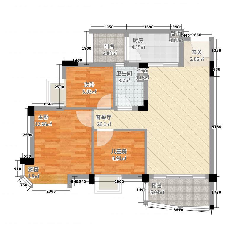 河池碧桂园38.20㎡户型3室2厅2卫