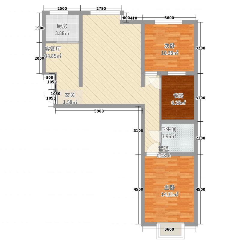 西岸国际16.47㎡户型3室2厅1卫1厨
