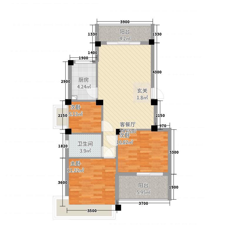 永鸿厦门湾南岸1.20㎡花园洋房Q1型户型3室1厅1卫1厨