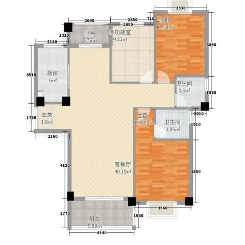 新新罗马家园2室1厅2卫1厨126.00㎡户型图