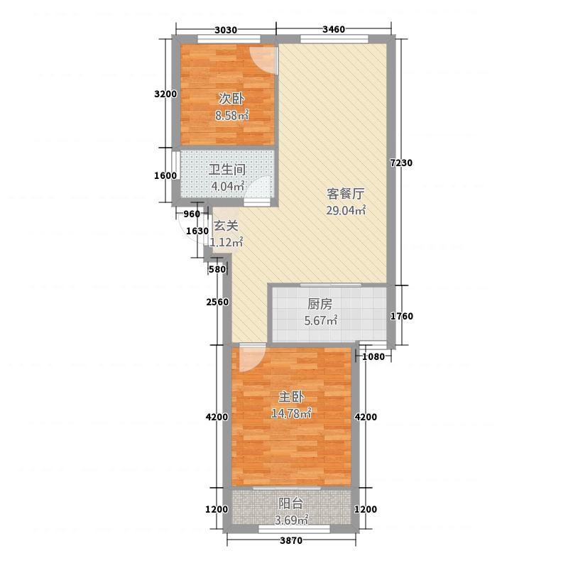银座广场42.20㎡小高层C-4B户型2室2厅1卫1厨