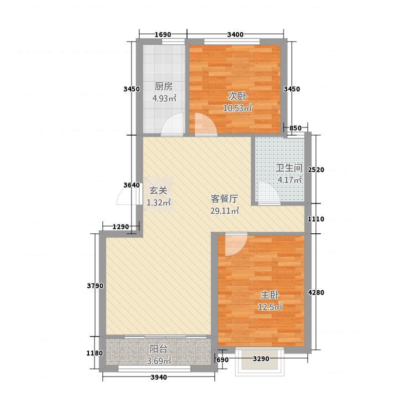银座广场21.20㎡洋房F2户型2室2厅1卫1厨