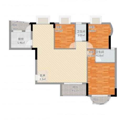 贝月湾3室1厅2卫1厨133.00㎡户型图