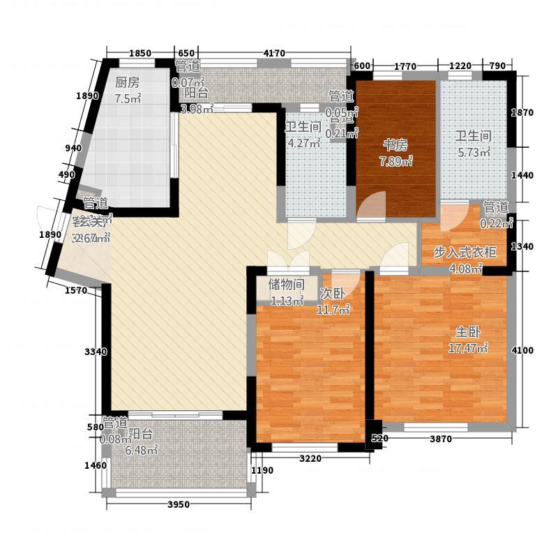 晋合湘水湾112147.66㎡1期1-2栋A3户型3室2厅2卫1厨