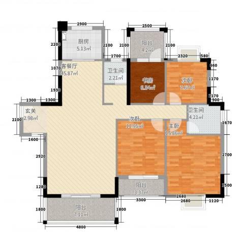 华发国际花园4室1厅2卫1厨161.00㎡户型图