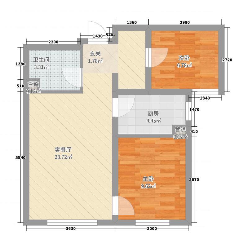 万科・四季花城72.32㎡C户型2室2厅1卫1厨
