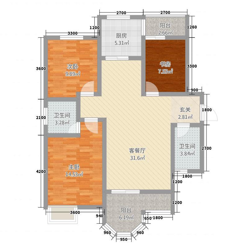 铜川七彩国际12.20㎡户型3室2厅2卫1厨