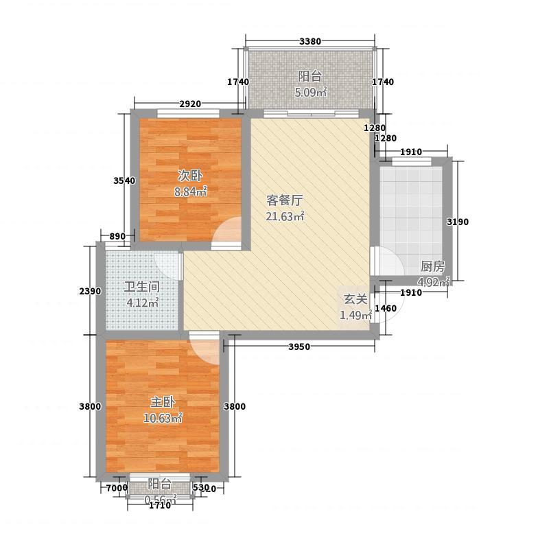 腾盛第五城8.73㎡四期二批A2户型2室2厅1卫1厨