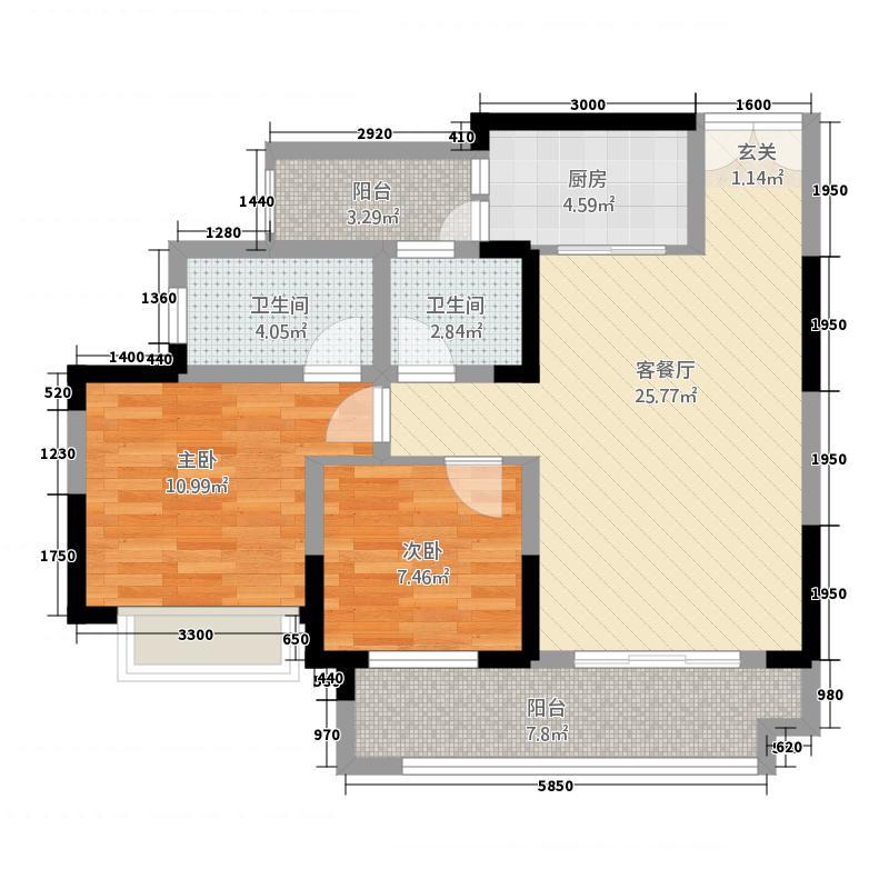 恒春凤凰城88.52㎡6楼6号房户型2室2厅2卫1厨