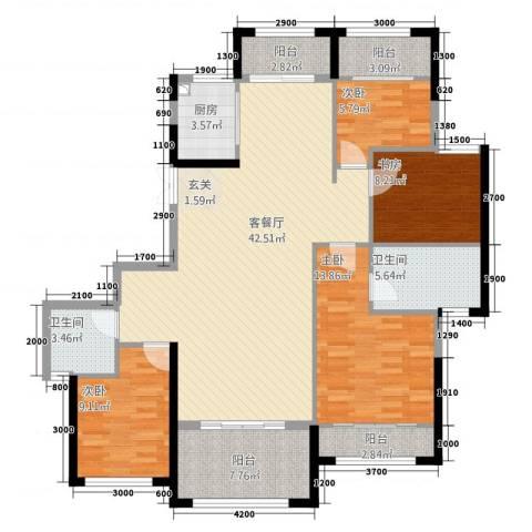 湘水郡4室1厅2卫1厨2215.00㎡户型图