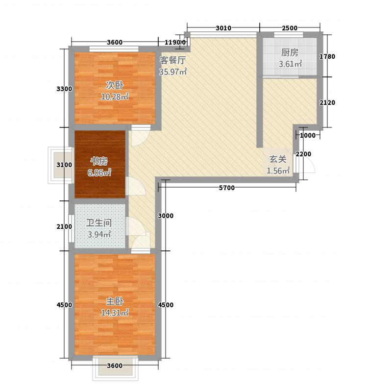 西岸国际1.70㎡户型3室2厅1卫1厨