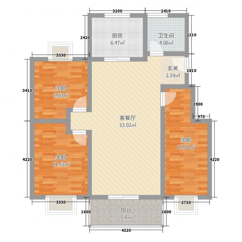 天鹅湖6657118.50㎡60、65、71#楼D3户型3室2厅1卫1厨