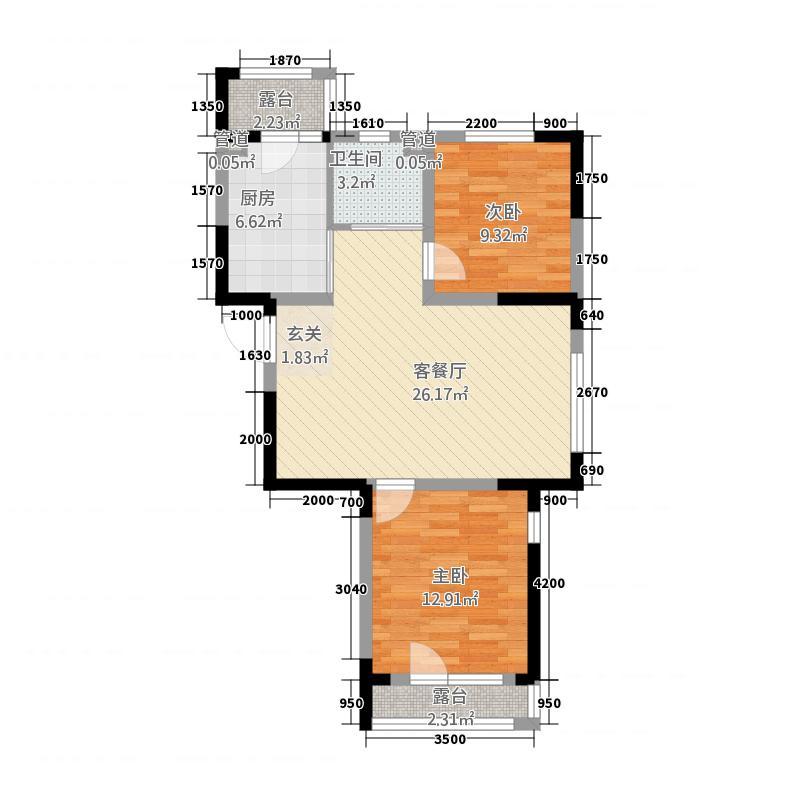 金色橄榄城488.62㎡二期DM-4-b户型2室2厅1卫1厨