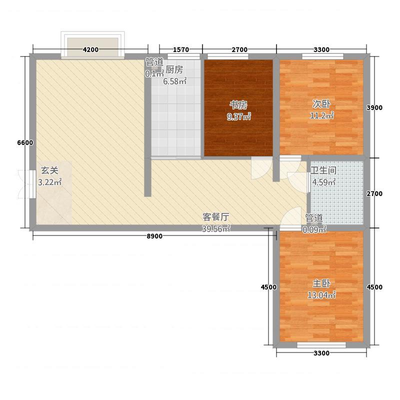 西岸国际12.30㎡户型3室2厅1卫1厨