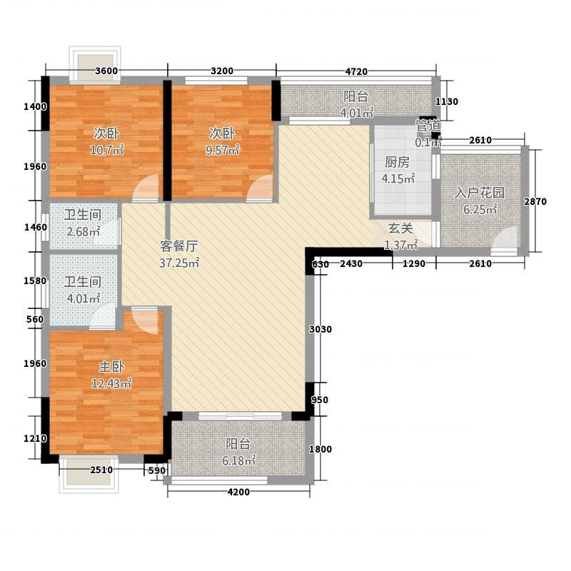 元泰未来城13136.77㎡B1户型3室2厅2卫1厨