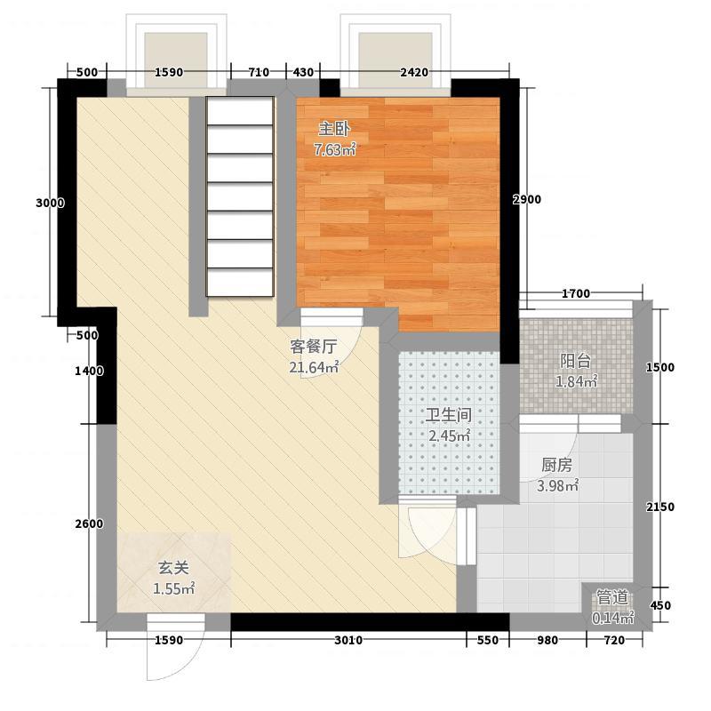 中大君悦金沙9期君雅院88.12㎡3栋跃层A51层户型1室1厅1卫1厨