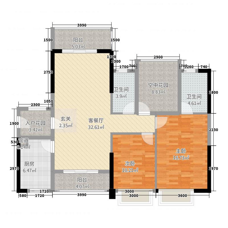 水岸香洲113113.20㎡11栋A3户型3室2厅2卫1厨