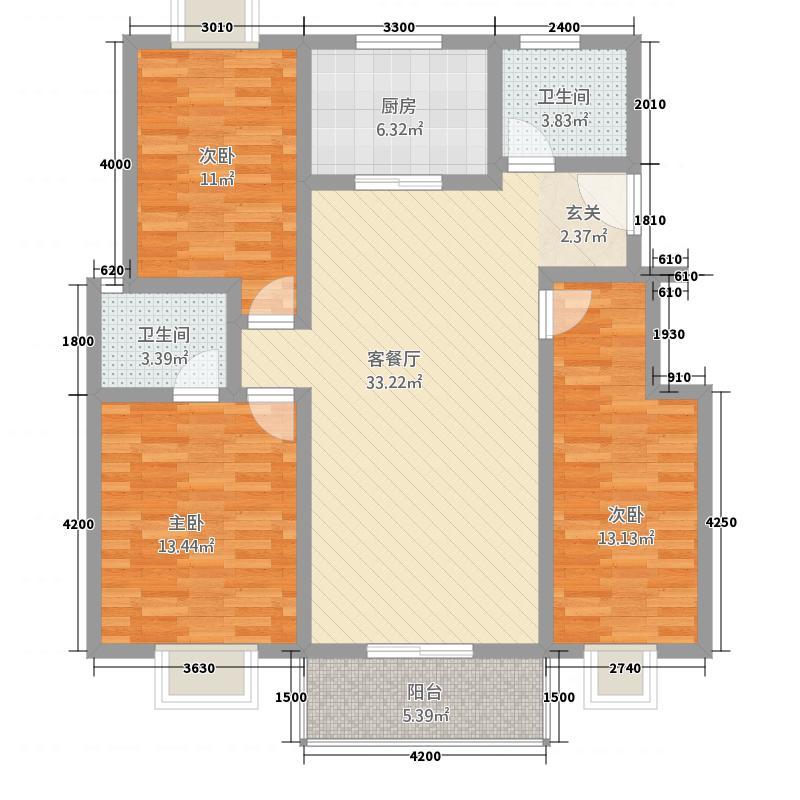 天鹅湖4117.52㎡D4标准层户型3室2厅2卫1厨