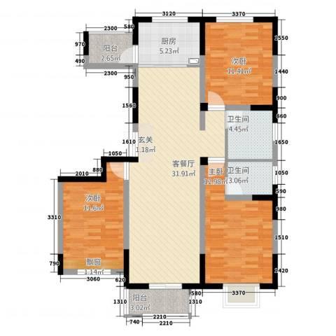 宏基・阳光尚城3室1厅2卫1厨124.00㎡户型图