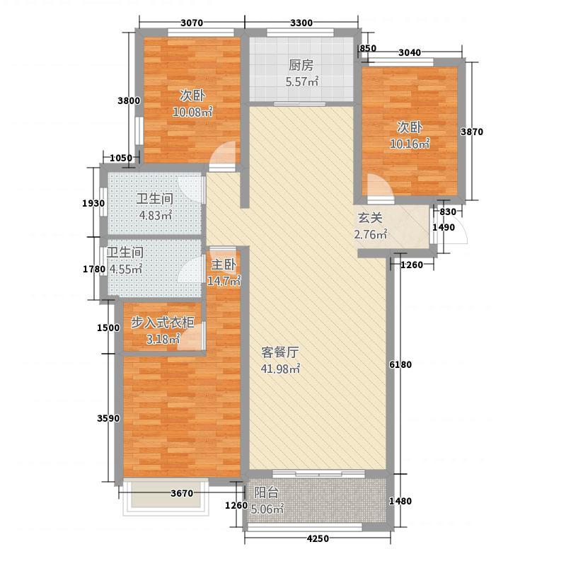 科达天意华苑142.20㎡一期高层2#楼2层B3户型3室2厅2卫1厨