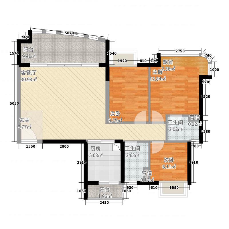 宏鼎・海山壹号118.20㎡1座02户型3室2厅2卫1厨