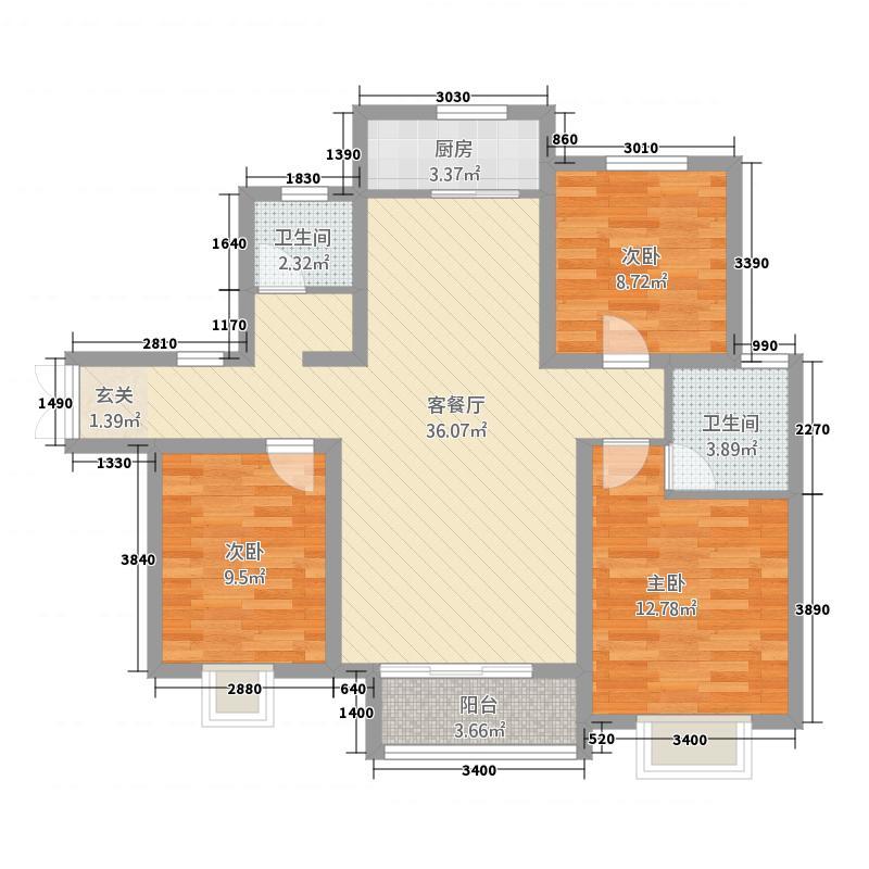中景香颂32125.75㎡J户型3室2厅2卫1厨