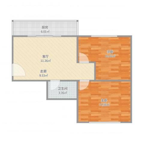 朝阳新村2室1厅1卫1厨77.00㎡户型图