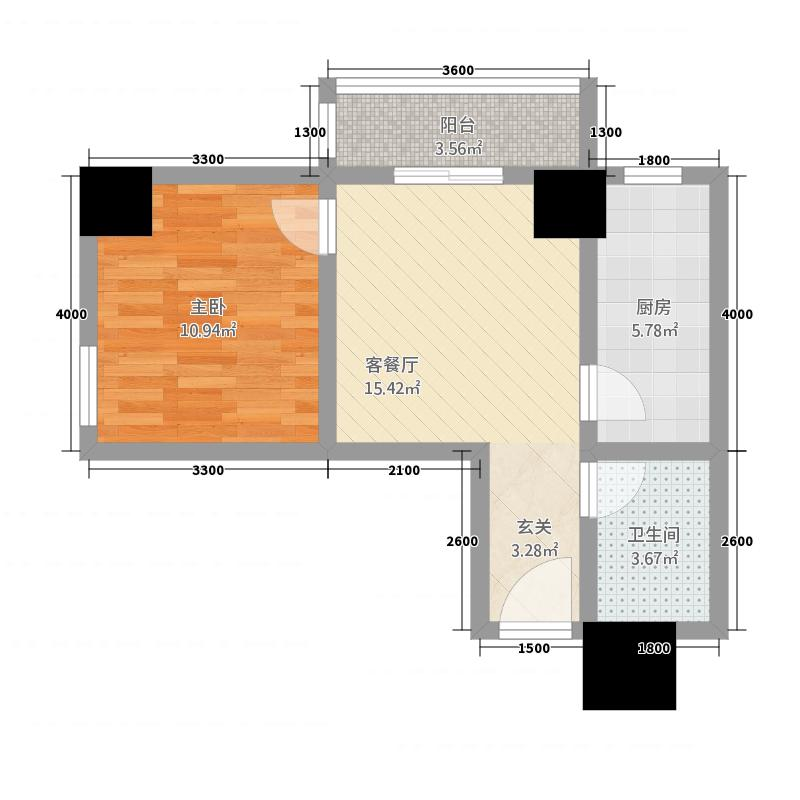 金港新城商住楼62.63㎡A户型1室1厅1卫1厨