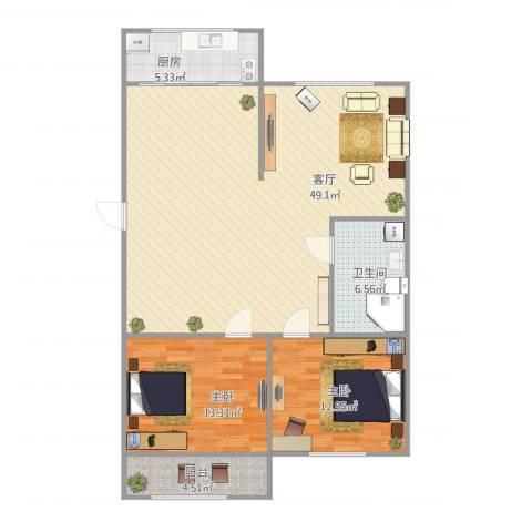 锦霞南园2室1厅1卫1厨122.00㎡户型图