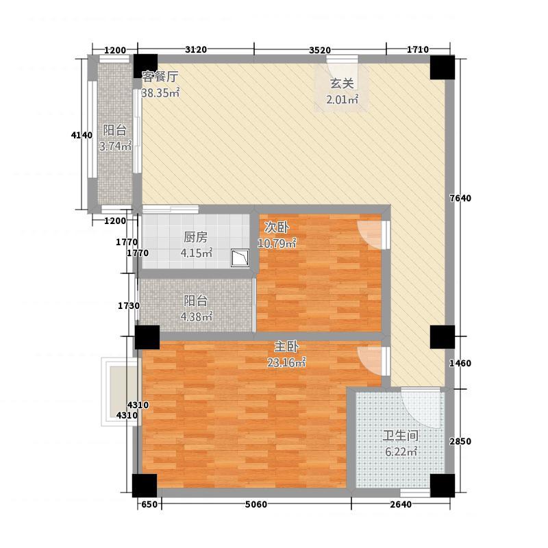 博士後22136.20㎡E户型2室2厅1卫1厨