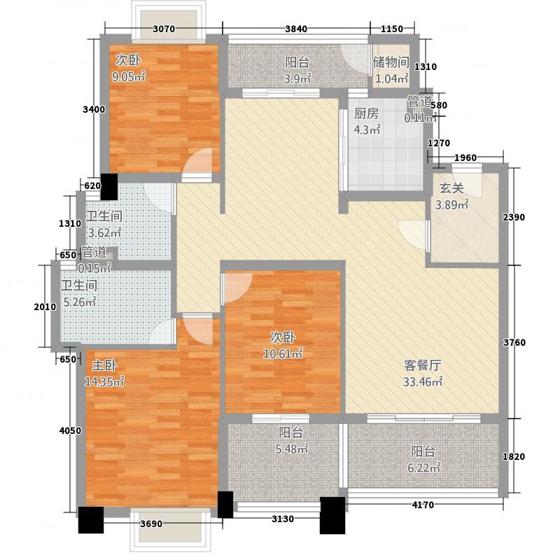 金海湾14.00㎡J1户型3室2厅2卫2厨