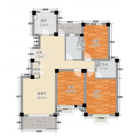山海・丽景苑3室1厅2卫1厨123.00㎡户型图