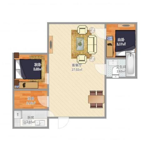 南桥江山3室1厅1卫1厨63.00㎡户型图