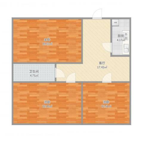 石葵路3室1厅1卫1厨102.00㎡户型图