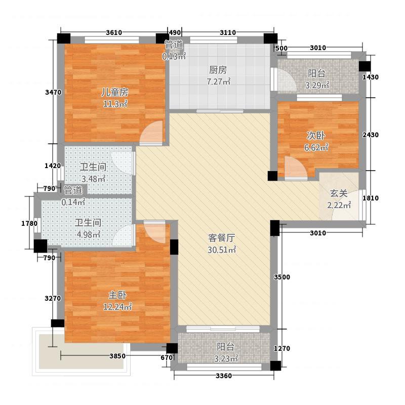 邹城碧桂园55135.20㎡J550A户型3室2厅2卫1厨