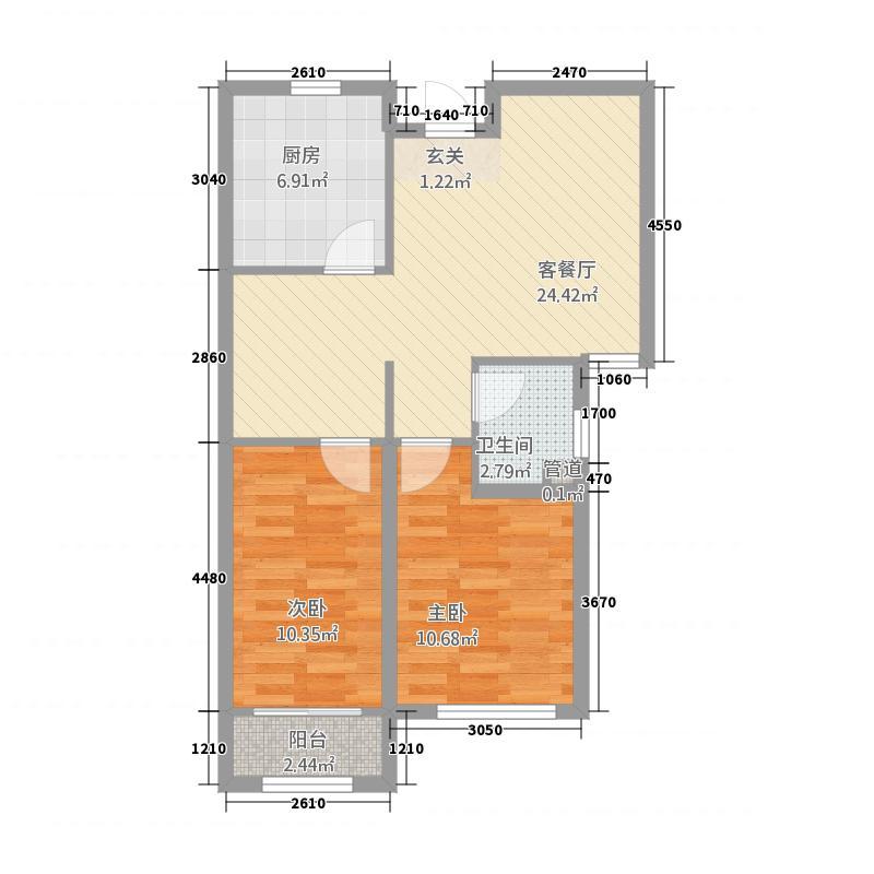 银座广场382.20㎡小高层C3户型2室2厅1卫1厨