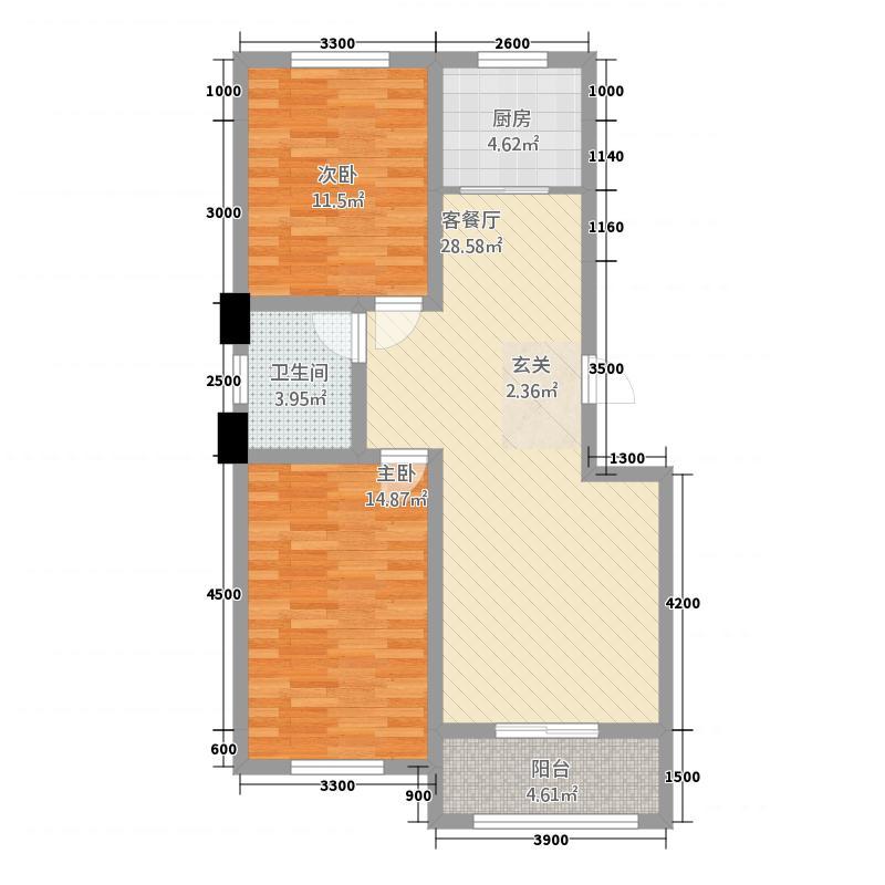 华洋和谐家园87.62㎡A库户型2室2厅1卫