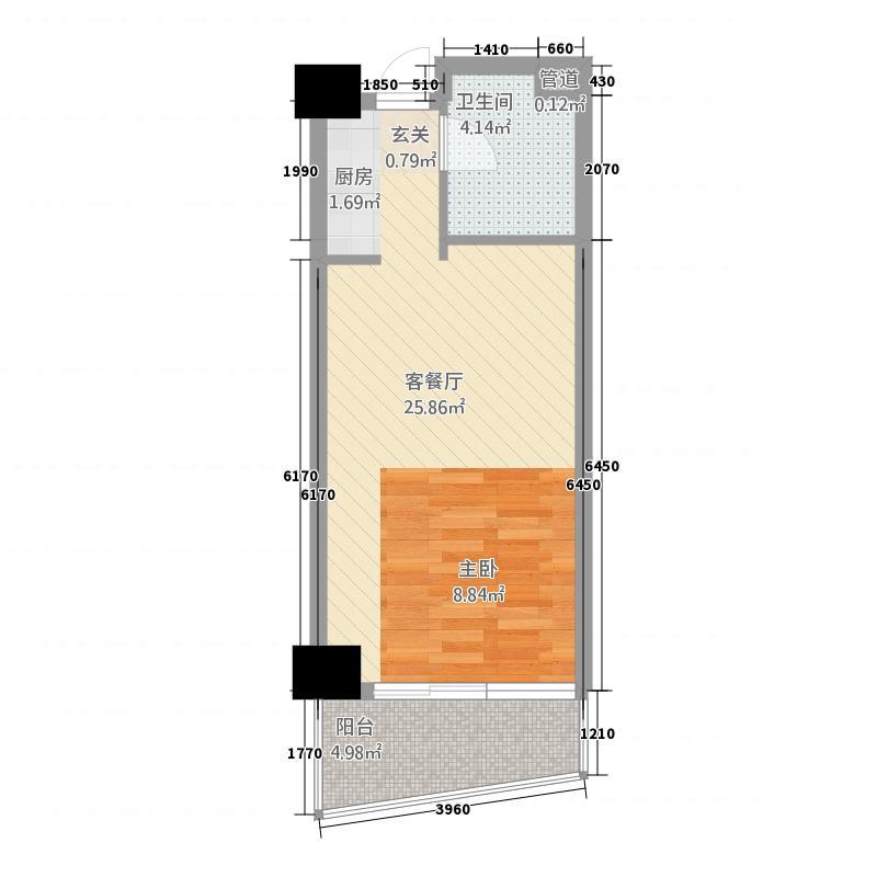世贸白金公馆52.20㎡户型1室1厅1卫1厨